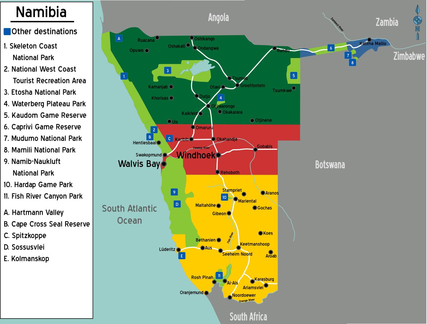 karte namibia Namibia: Karten für Reiseplanung, Reise und Safari karte namibia