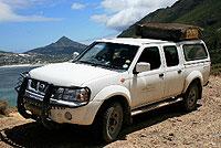 Namibia Standardfahrzeug - Nissan Doppelkabine, hier mit einem Dachzelt