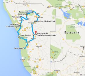 Landkarte für Namibia-Reiseroute: übliche Route durch Nambias Zentrum