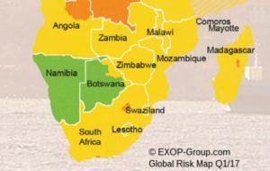 Ausschnitt südliches Afrika - EXOP-Global-Risk-Map