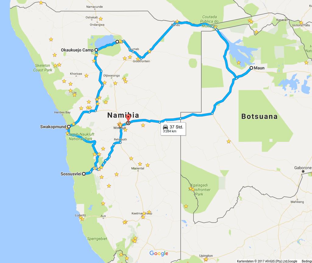 Kartenausschnitt Google Maps. Reiseroute Namibias zentrale Highlights und Okavango-Delta