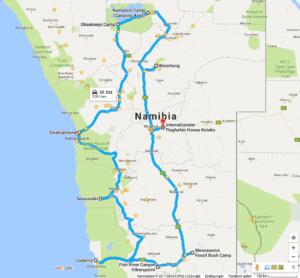 Reiseroute Namibias Süden und Zentrum mit Fish-River-Canyon, Lüderitz, Sossusvlei, Swakopmund, Etoscha und Waterberg