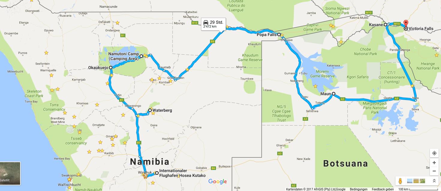 Kartenausschnitt Google Maps. Reiseroute Waterberg, Etoscha, Okavango-Delta, Makgadikgadi-Pfannen, Chobe-Park, Victoria-Fälle