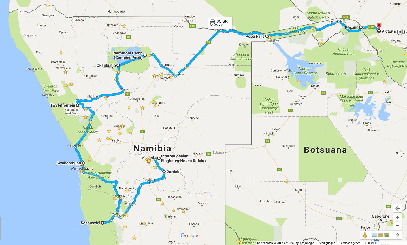 Kartenausschnitt Google Maps. Reiseroute Namibias zentrale Highlights, Caprivi, Chobe-Park, Victoria-Fälle