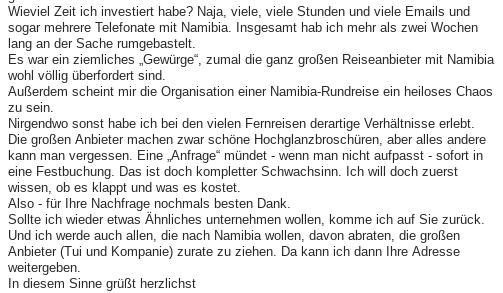 Ehrliches Feedback - Namibia selbst organisieren ist mühsam!