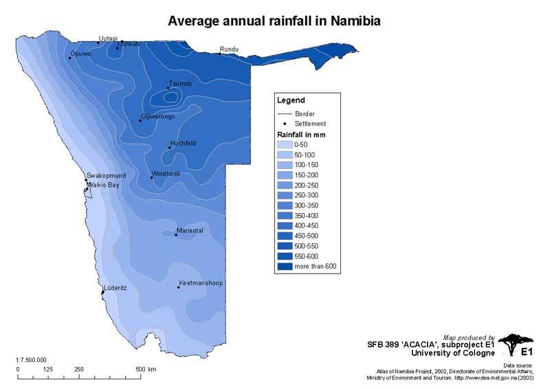 Karte der jährlichen Regenverteilung in Namibia
