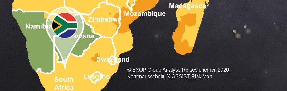 Kartenausschnitt Exop-Group Reiserisiko-Landkarte 2020 - Risiko niedrig für Namibia und Botswana