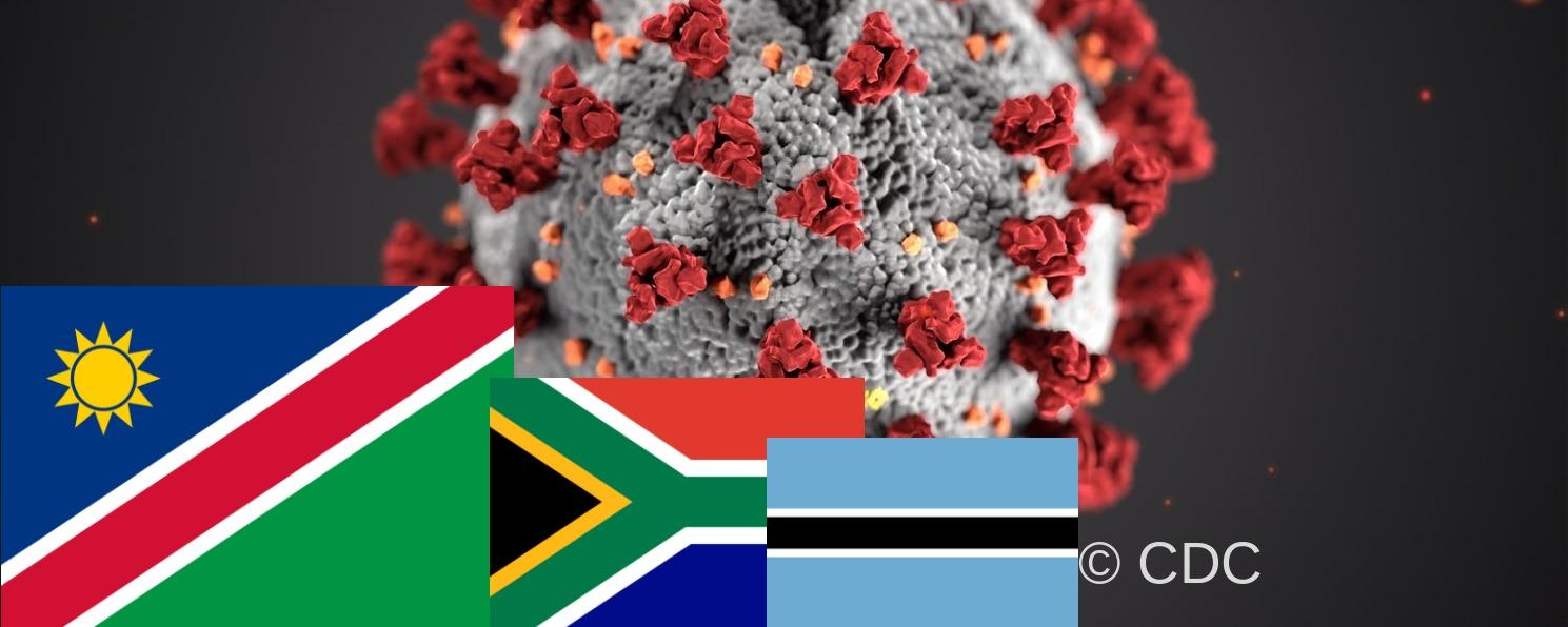 Flaggen Namibia, Südafrika & Botswana mit Computergrafik des Corona-Virus