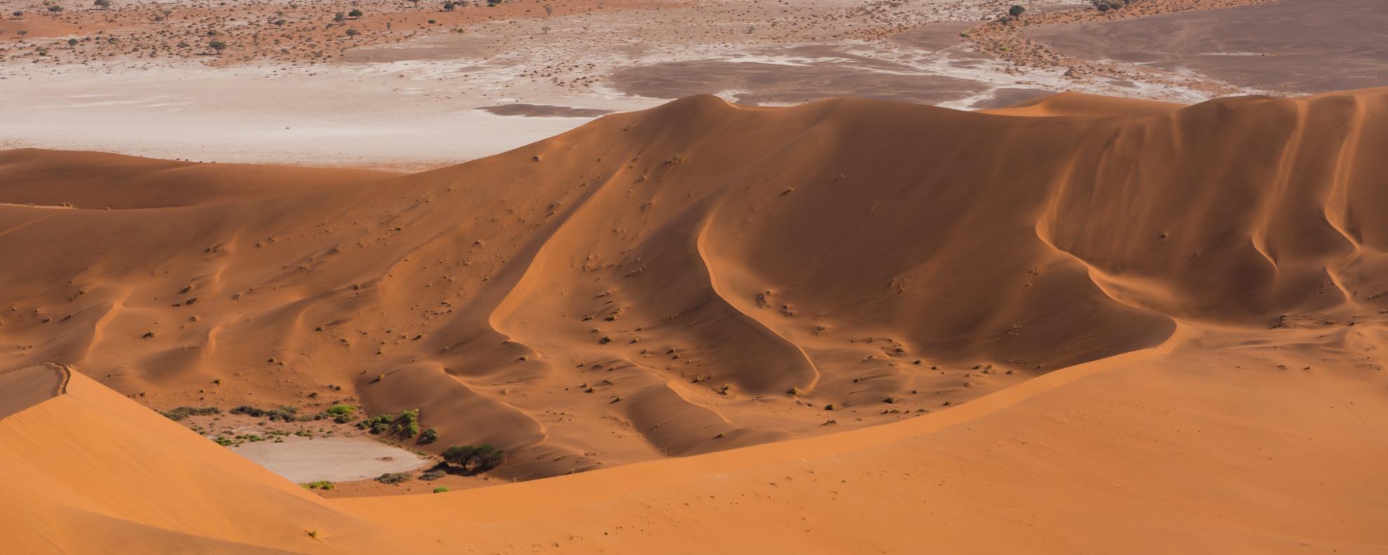 Blick von einer Düne des namibischen Sossusvlei in die Lehm- & Salzpfannen
